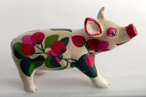 Red buds on white mini pig - PP-R1402