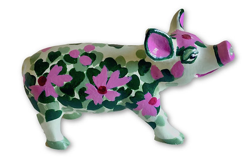 Red flowers with leaves mini pig - PP-R1416