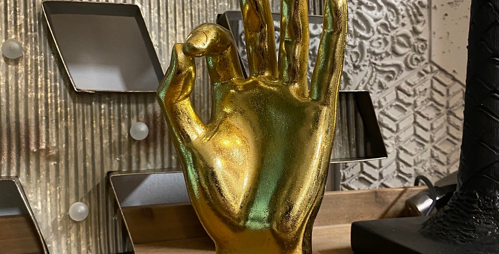 "Gold ""OK"" Hand Statue"