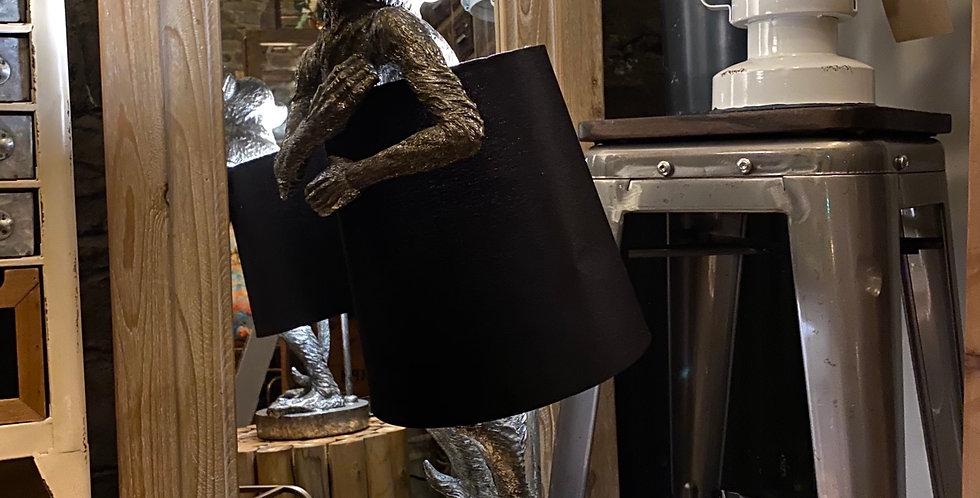 Antique Silver Bashful Monkey Lamp with Black Shade