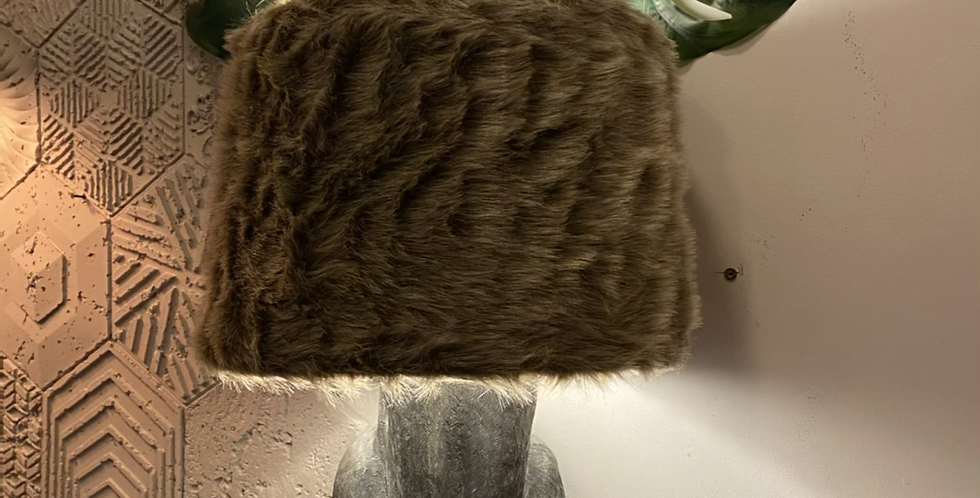 Rabbit Lamp with Faux Fur Shade
