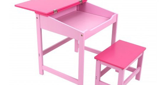 Kids Desk and Stool in Pink
