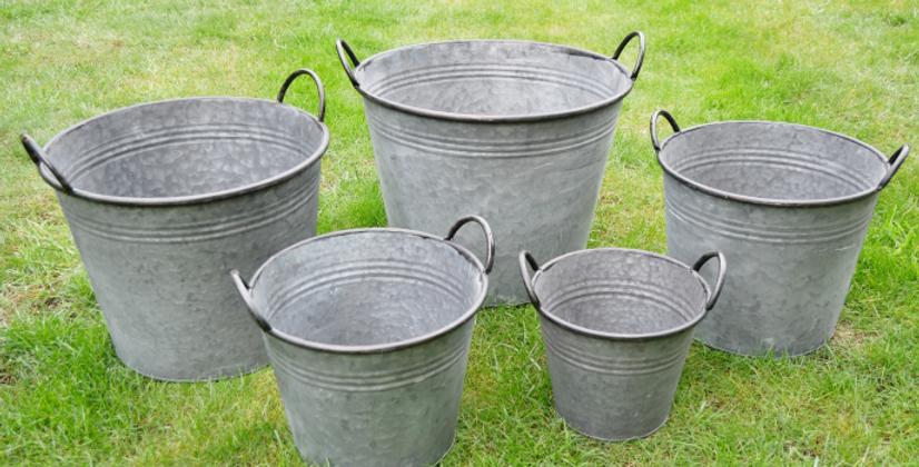 Set of 5 Metal Buckets