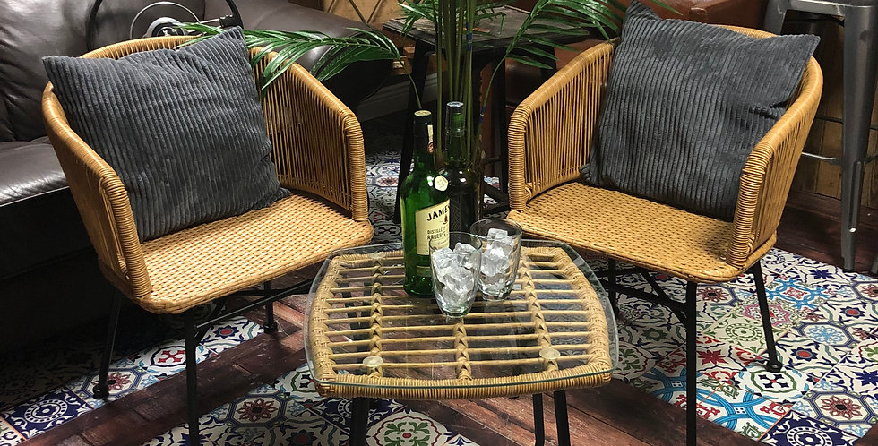 Rattan Table & Two Chairs