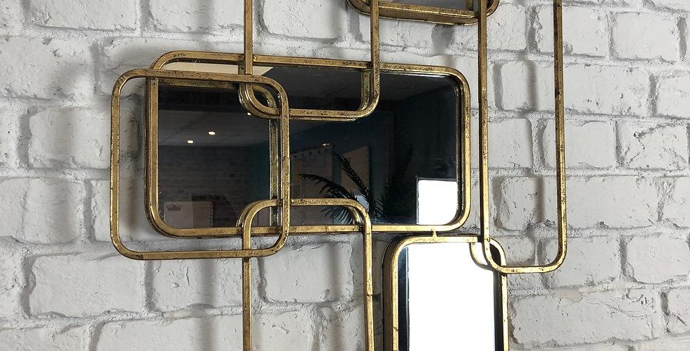 Gold Metal 3 Panel Mirror