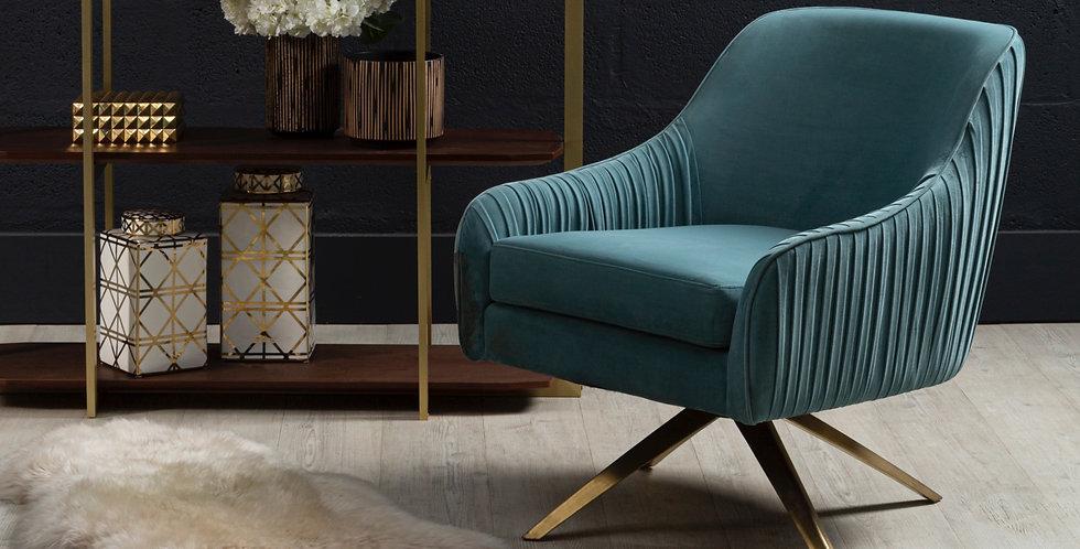 Stunning Blue Velvet Swivel Chair