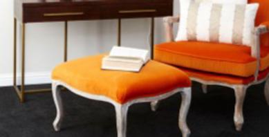 Antique Style Orange Velvet Chair & Footstool