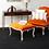 Thumbnail: Antique Style Orange Velvet Chair & Footstool