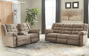 WORKHORSE TAN RECLINING SOFA LOVESEAT