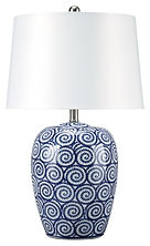 L100624 MALINI BLUE AND WHTE TABLE LAMPS SET OF 2