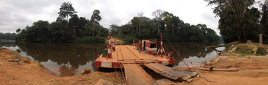 The roll on, roll off ferry across the Boumba river, easier than a dugout!