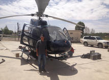 About to take off for aerial filming