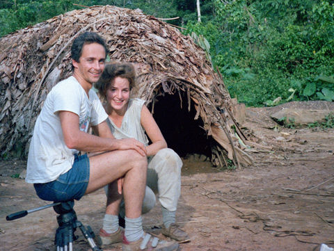 Outside our oversized Mongulu home for two years