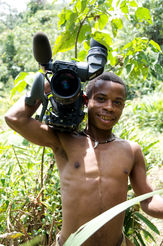 Ali, assistant camerman, at the 'Elephant's Mirror'