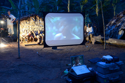 Projecting the original Baka a film for all the villagers
