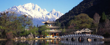 Black Dragon Pond with snow-capped Yulong Mountain