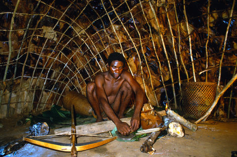 Babu making poison arrows for his crossbow