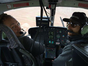 With Andy Dean, our amazing helicopter pilot