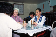 Filming the Landlady and Dr Tang's daughter