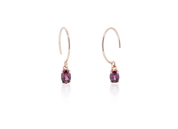 RHODOLITE GARNET OVAL EARRINGS