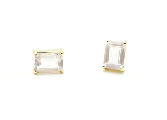 RECTANGULAR ROSE QUARTZ EARRING