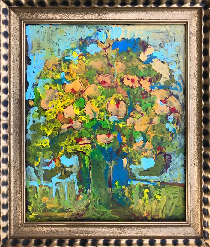 Baum auf Glas gemalt in alten Rahmen