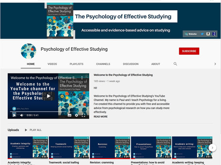 The Psychology of Effective Studying now has a YouTube channel.