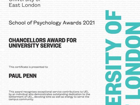 I won my school's Vice Chancellor's Award for University Service.