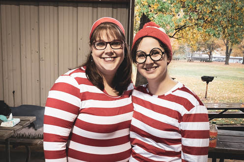 Rachael and Sarah as Where's Waldo and W