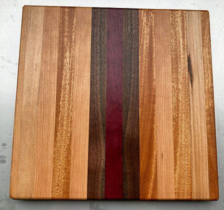 Purple Heart, Mahogany, Cherry, & Beech Cutting Board