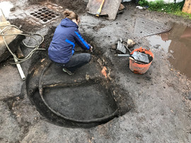 Helen working at the turntable trench