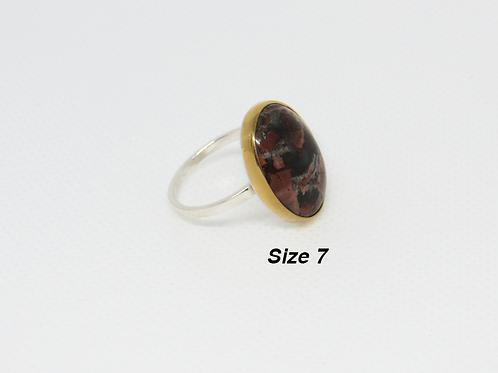 22 KT Gold Bezel Mahogany Obsidian (Size 7)