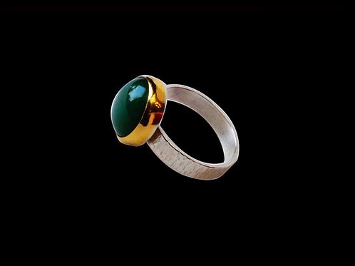 Green Aventurine Gold & Silver Ring (7-1/4)