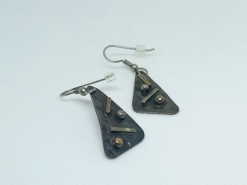 Marriage of Metals Triangle Earrings