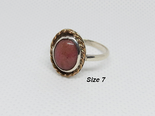 Sterling Silver Rhodonite Cabochon Ring (7)