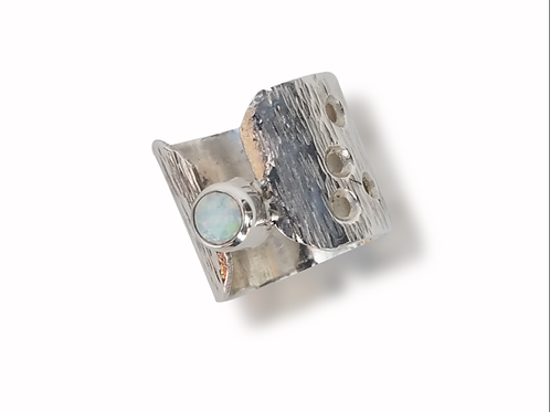 Sterling Silver Synthetic Opal Ring (7-1/2)