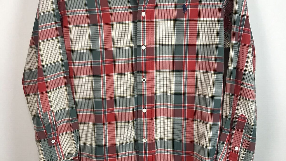 Ralph Lauren Mens Button Up Shirt Size XL Red Green Check Cotton Long Sleeve
