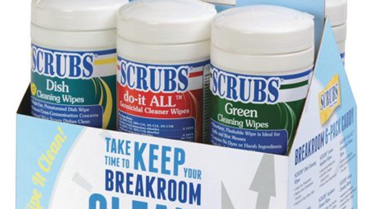SCRUBS Breakroom 6pk Cleaning Wipes, Red, White, Blue, 6 / Carton (Quantity)