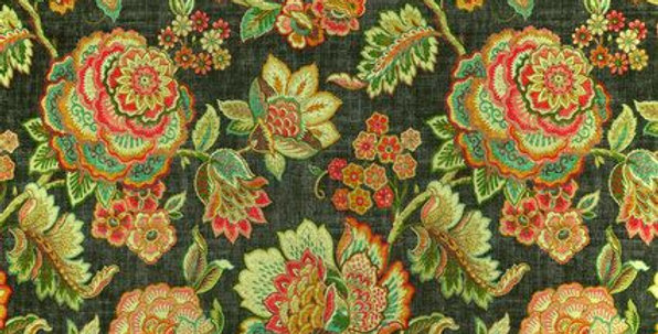 Gray Smoke - Teal - Coral - Linen Floral