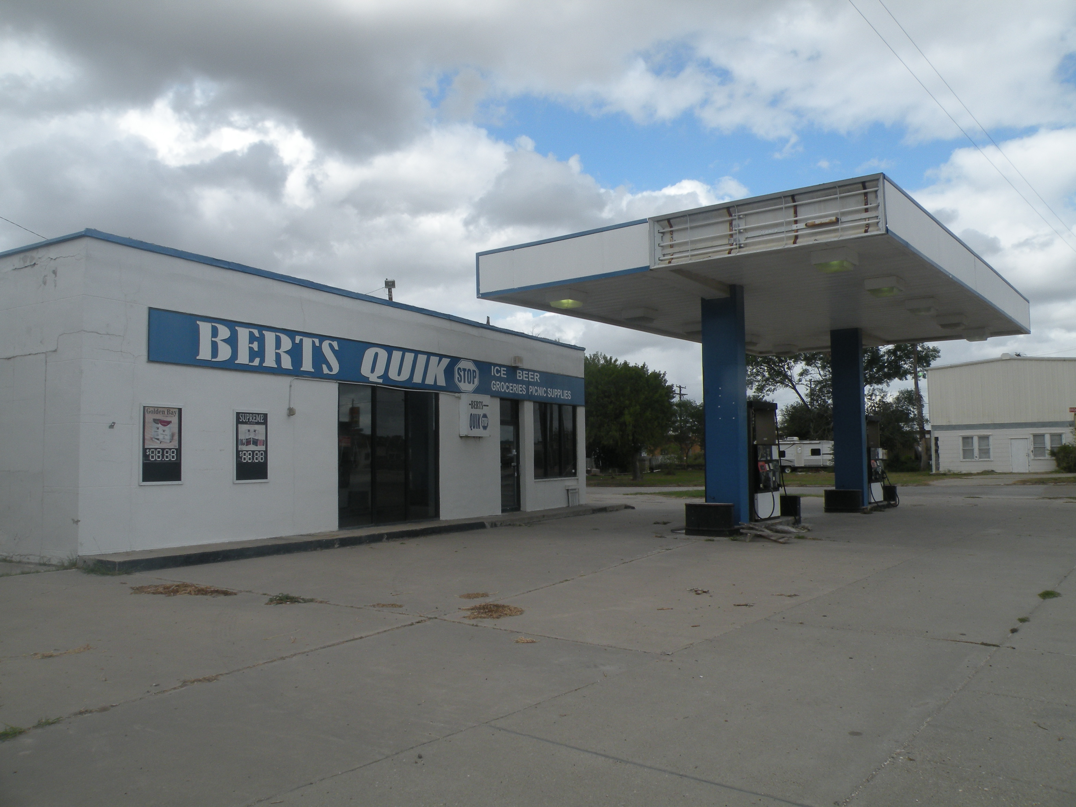 Front View with Gas Pumps