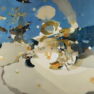 Un reietto parla, oil painting on canvas, 180 × 180 cm 2021