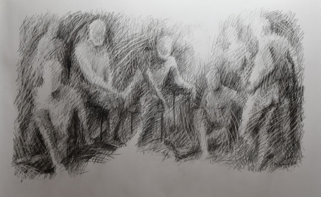 """Gathering #7. Charcoal on paper. 24""""x36"""". 2019"""