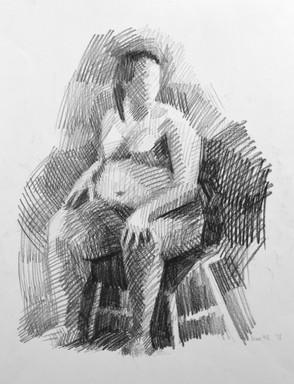 "Figure Study. Charcoal on paper 24""x18"". 2018"