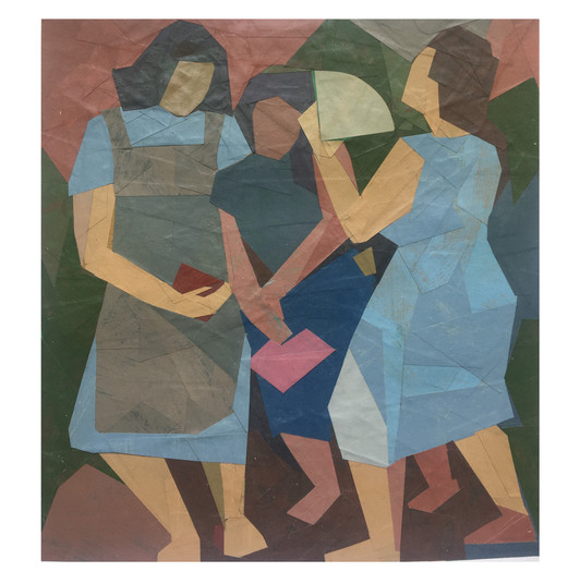 """The Three Graces. Painted paper collage. 8 1/4""""x7 3/4"""". 2020"""