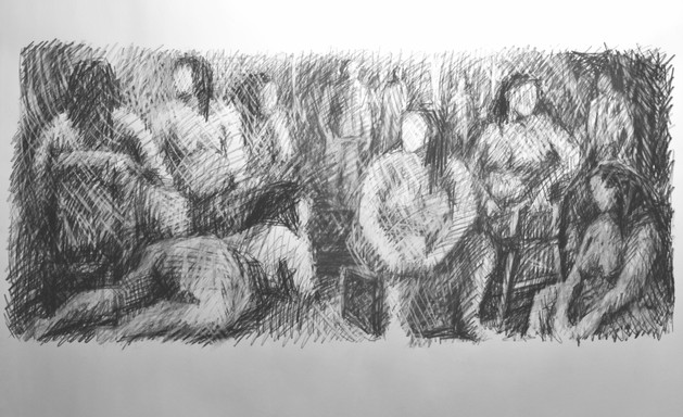 """Gathering #1. Charcoal on paper. 15""""x30"""". 2019"""