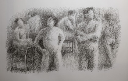 """Gathering #2. Charcoal on paper. 19""""x31"""". 2019"""