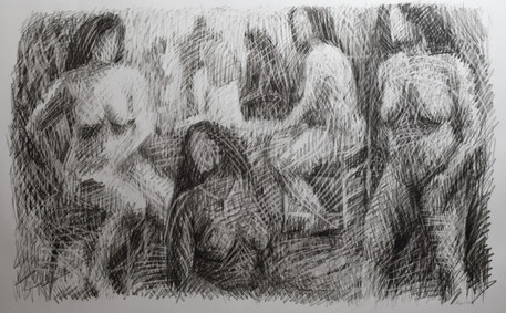 """Gathering #9. Charcoal on paper. 24""""x36"""". 2019"""