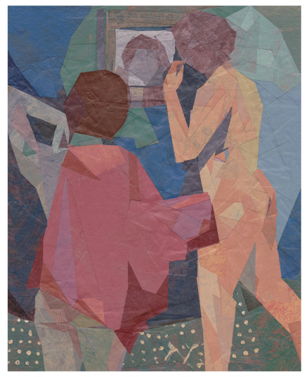 """Two Girls In Front Of A Mirror. Painted paper collage. 9""""x7"""". 2020"""