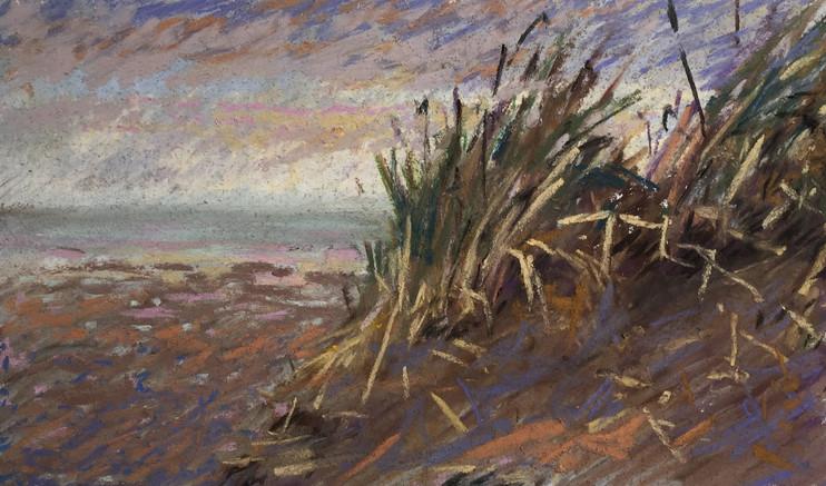 "Dune. Pastel on paper 4.5""x8"". 2018"