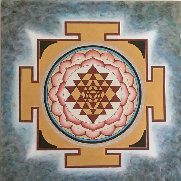 Sri Yantra on canvas painted with acrylics